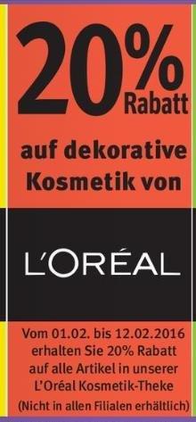 [Rossmann] L'Oreal Kosmetik Schnapper ab 01.02. - 20% auf dekorative Kosmetik + 5€ Rabatt ab 15€