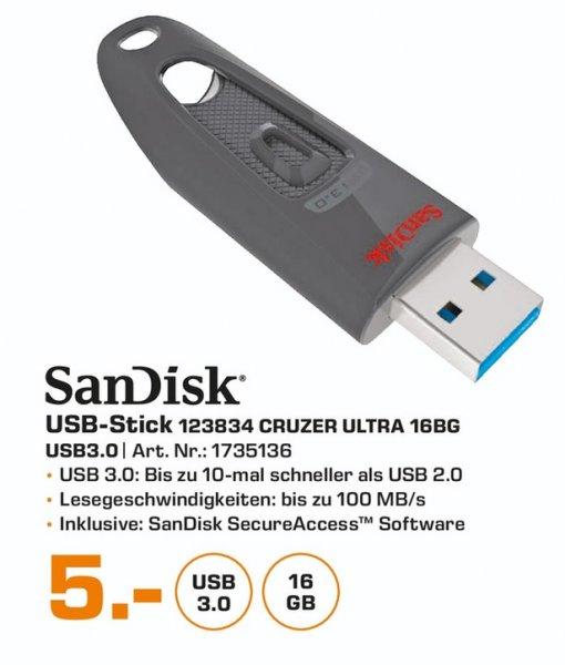(Lokal) Sandisk Ultra USB 3.0 16GB für 5€ @ Saturn Bergisch Gladbach