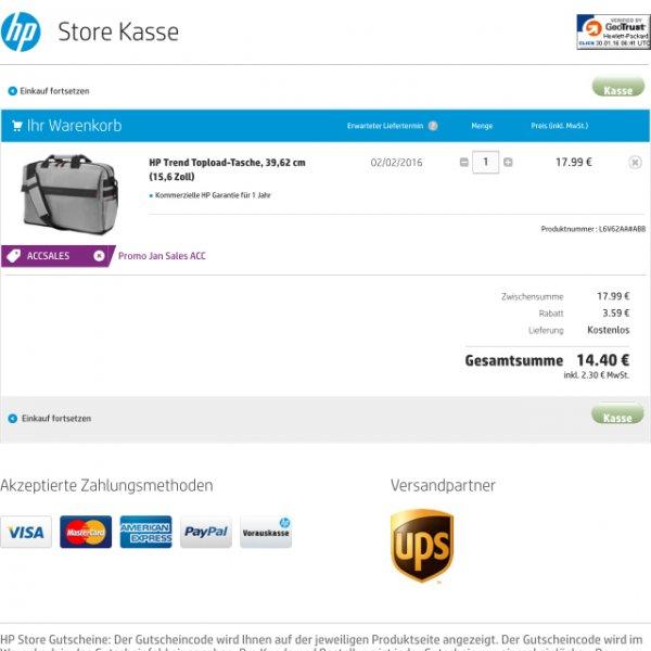 HP Trend Topload Notebooktasche 15,6 Zoll für 14,40€