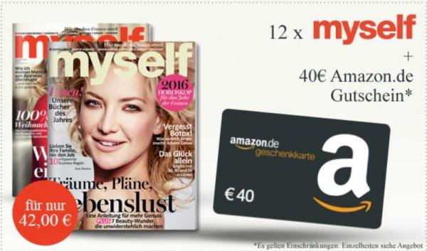 Myself Magazin 12 Monate für rechnerisch 2€ durch 40€ Amazon Gutschein