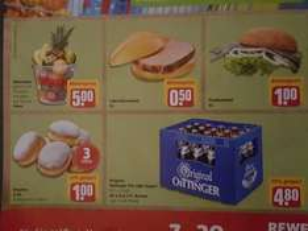 [Lokal REWE Bad Abbach] Leberkässemmel 0,50 €,  Kasten Öttinger Bier 4,80 €, Fischsemmel 1 €, 3 Krapfen 1 €