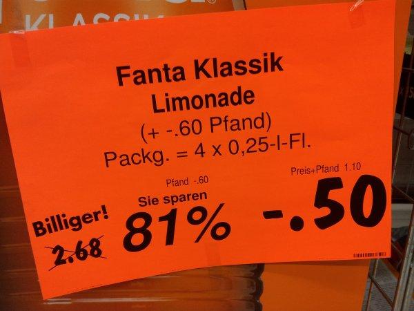 [Kaufland Rüsselsheim] - Fanta Klassik, 4 x 0,25 Liter - Euro 0,50 (81 % billiger)
