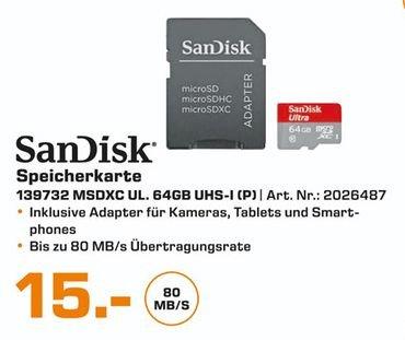 [Lokal Saturn Wesel] SANDISK Ultra Micro-SDXC Speicherkarte (64 GB, 80 Mbit/s, Class 10) für 15,-€