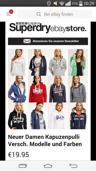 Superdry Damen-Kaputzenpulli Ebay WOW 19.95 €