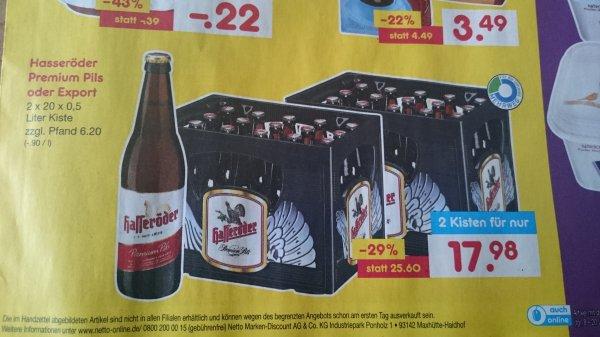 (Netto ohne Hund) Hasseröder 2 Kisten Premium Pils oder Export für 17,98€ zzgl. Pfand