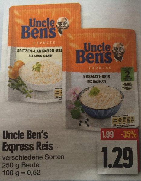 [Edeka] [Nordbayern, Thüringen, Sachsen] Uncle Bens Express verschiedene Sorten 1,29€ mit Coupon 0,29€