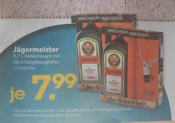 Jägermeister (inkl. Hirschkopf-Ausgießer) 0,7 l für 7,99 € bei SoHappy [Lokal / Gießen, Fulda]
