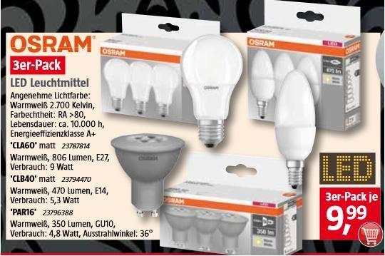 [BAUHAUS] OSRAM LED E14 5,3W/40W-Ersatz 3er Pack oder OSRAM LED E27 9W/60W-Ersatz 3er Pack