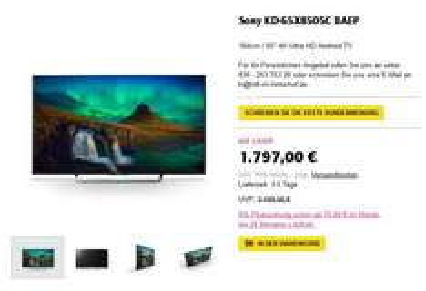 [HiFi im Hinterhof] Sony 65X8505C UHD LED TV / inkl. Versand D-weit