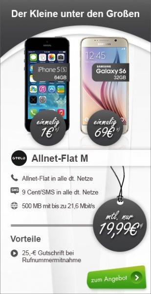 Samsung Galaxy S6 32 GB mit Allnet Flat M Vodafone otelo