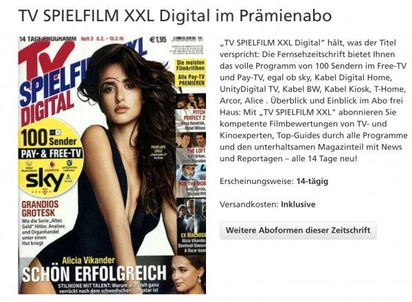 Tv Spielfilm XXL prämienabo 13 Monate für 4,00€  eff.  bei Bankeinzug