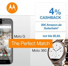 Motorola Valentins Special: Moto G 3. Gen und Moto 360 (2.Gen) kombinieren und 130 € sparen + 20€ Amazon GS