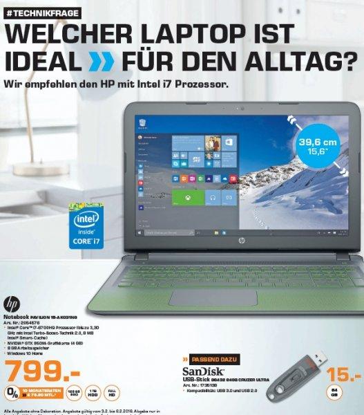 "[Lokal Saturn Stuttgart] HP Pavilion 15-AK031NG - 15"" FHD/i7-6700HQ/8GB/1TB/128GB SSD/GTX950 - 799 €"