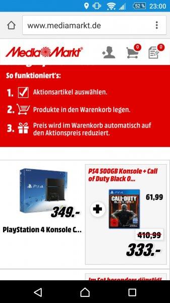 Playstation 4 + Black Ops 3 für 333€