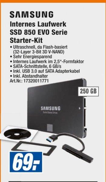 [Lokal HEM Expert Baden-Württemberg und Expert Groeblinghoff ] Samsung SSD 850 Evo 250GB inc.Starter-Kit für 69 Euro