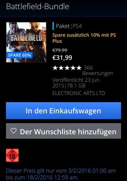 [PSN-Store] Battlefield Bundle (BF4 und Hardline) für PS-Plus Mitglieder 23,99€, ohne Plus-Mitgliedschaft für 31,99€