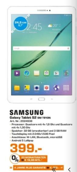 (lokal: Saturn Witten, Dortmund, Lünen) Samsung Galaxy Tab S2 9,7 399€ - 100€ Cashback (ab Kaufdatum: 04.02.)
