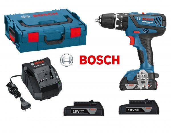 Bosch blau Akku-Schlagbohrschrauber GSB 18-2-LI 18Volt, 3x 1,5 Ah Akku in L-Boxx - 41,85 unter idealo!
