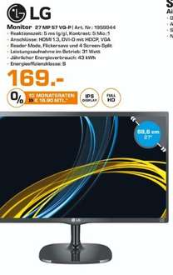 "[Lokal Saturn Hannover/Isernhagen] LG 27MP57VQ-P - LED-Monitor - 68.58 cm ( 27"" ) - 1920 x 1080 FullHD - AH-IPS - 250 cd/m2 für 169,-€"