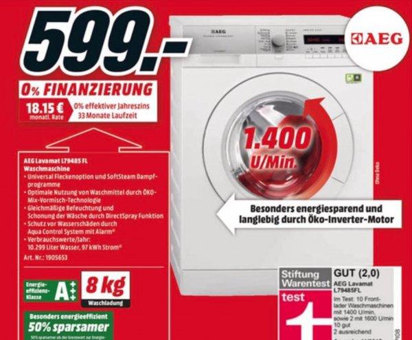 [Media Markt] AEG LAVAMAT 79485 FL Waschmaschine (8 kg, 1400 U/Min., A+++)