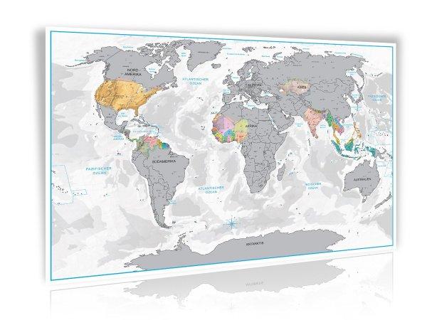 [Amazon] Design Rubbel Weltkarte mit 3D Relief-Optik in Silber oder Gold Limited Edition 2015/2016