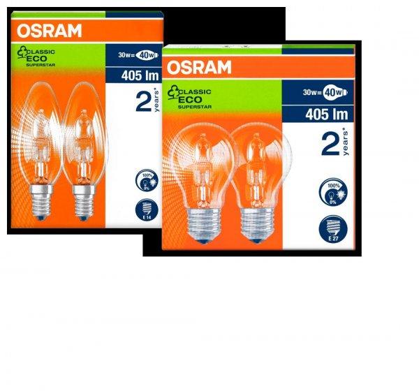 [Penny] Ab Donnerstag 11.02.16. OSRAM Halogenleuchtmittel CLASSIC ECO SUPERSTAR E27 mit 30/46 Watt und E14 mit 30 Watt als Doppelpack für je 3,99€