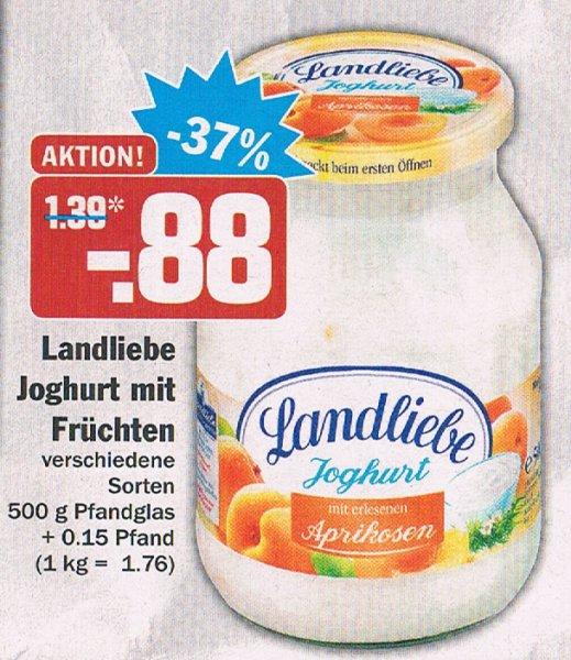 [HIT BUNDESWEIT KW 6] 6x Landliebe 500 Gramm Fruchtjoghurt im Glas für 4,28€ (Angebot+Coupon)