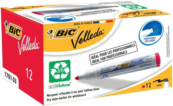 [Amazon Marketplace] BIC Whiteboard Marker VELLEDA 1701 ECOlutions, Rundspitze, Strichstärke 1,5 mm, Schachtel à 12 Stück, rot für 5,13 €