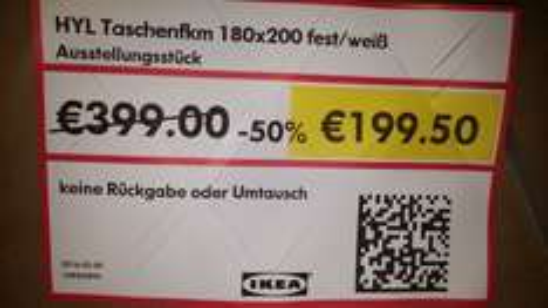 lkea Taschenfederkernmatratze HYL 180x200 [lokal Essen] statt 399€
