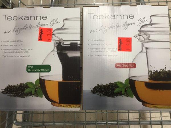 3,00€ Teekanne aus Glas mit Glasfilter oder Kunststofffilter [Aldi Nord] Velbert