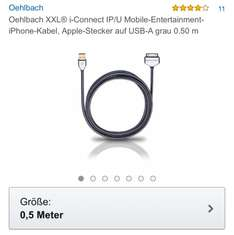 Oehlbach iPod/iPhone Kabel 1,99€ / idealo: 29,99 €