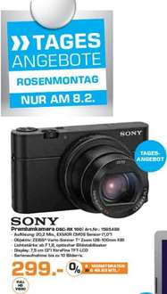 Sony RX100 Edelkompaktkamera zum Rosenmontag als Tagesangebot bei Saturn Leverkusen für 299,- €