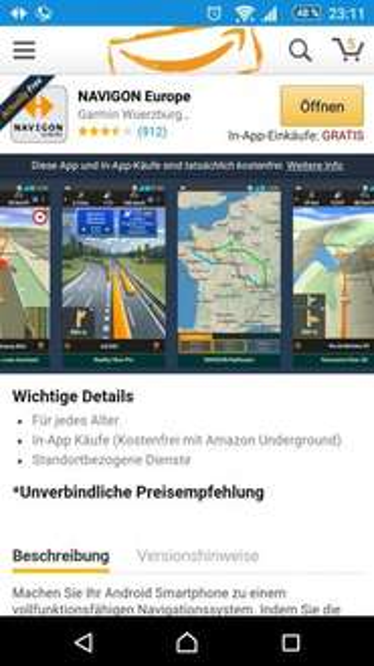 Navigon Europe App Gratis im Amazon Undergroud Store