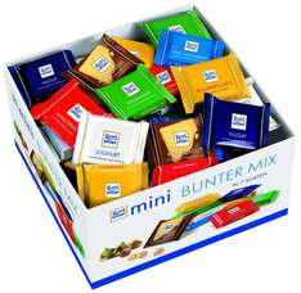 Ritter Sport Minis, 1,4 kg-Sortiment mit 84 Tafeln (Vollmilch, Haselnuss, Marzipan, Knusperflakes, Knusperkeks, Nougat, Joghurt) für 14,95 €, @Amazon Prime