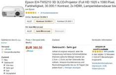 Amazon WHD ++ Beamer Epson EH-TW5210 (Full HD, 3D) ++ Zustand sehr gut ++ 361 €