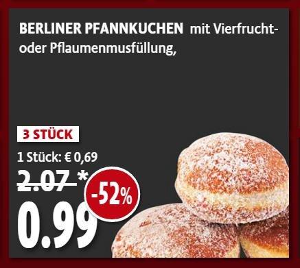 [Berlin, Kaiser's] 3 Pfannkuchen, gezuckert, mit Marmelade für -,99 € (8. bis 13. 2.) - aka Berliner, Krapfen, Kräppel (auch: Kreppel)