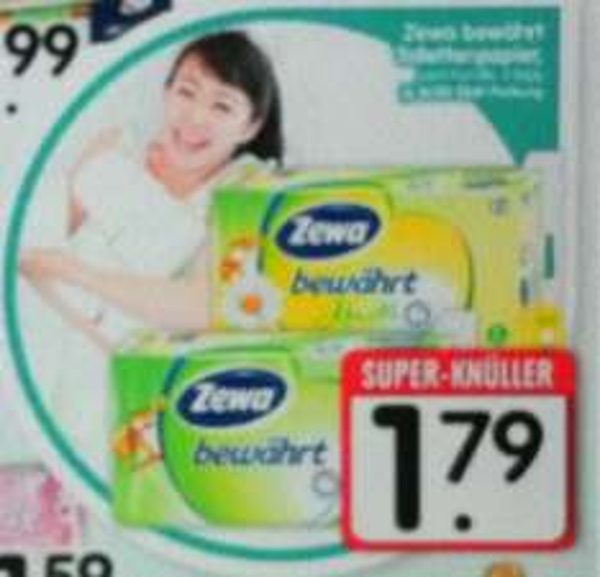 EDEKA Südbayern KW06: ZEWA Toilettenpapier (3lagig, 8 Rollen, 150 Blatt) 1,29 Euro (Sonderangebot + Coupon)