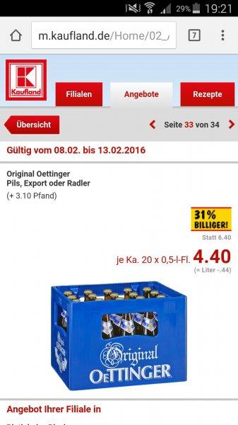 Kasten Oettinger Pils, Export & Radler 4,40€ bei Kaufland