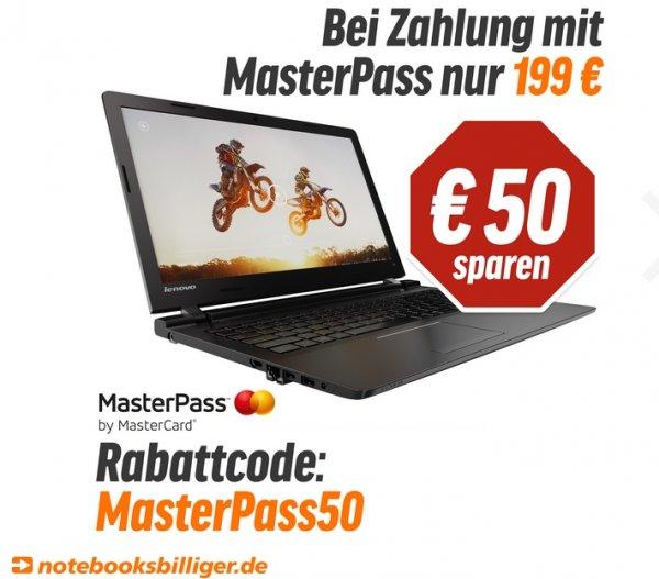 """Lenovo 100-15IBY 80MJ00CJGE Notebook 15.6"""" bei NBB für 199,00 mit MasterPass"""
