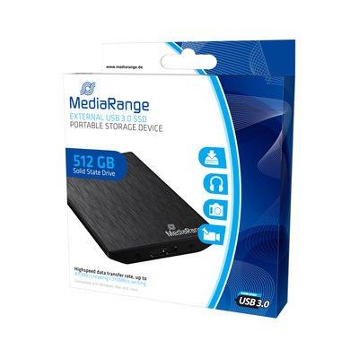 MediaRange External USB 3.0 Solid State Drive, 512GB, MLC, 470 MB/s lesen, 370 MB/s schreiben, black ab 137,99 € @ Hardwareversand.de