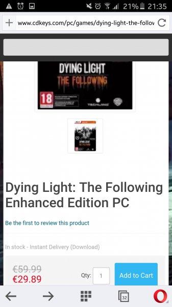 Dying Light + ALLE Dlcs + following unter 30€ @cdkeys.com ?Nach Bezahlen direkt Key bekommen?