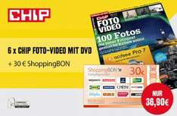 Halbjahresabo Chip Foto-Video mit DVD + 30€ Shoppinggutschein für 36,90€ bzw. effektiv 6,90€