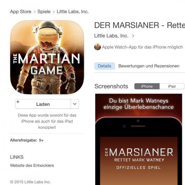 [iOS] Der Marsianer - Das Spiel kostenlos statt 2,99€