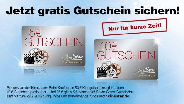 5€ oder 10€ Cinestar-Gutschein bei Kauf eines Geschenkgutscheins