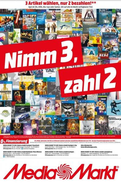 """Neue """"Nimm 3 Zahl 2"""" Aktion bei Mediamarkt (LOKAL Stuttgart (City, Milaneo, Feuerbach, Esslingen, Ludwigsburg)) vom 10. bis 16. Februar"""