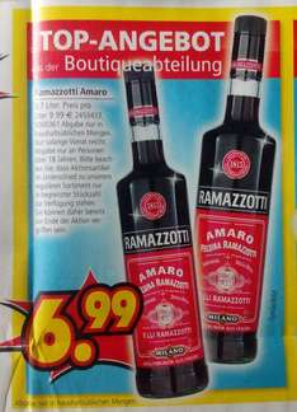 [Segmüller Parsdorf & Friedberg] Ramazzotti Kräuterlikör 0,7 l für € 6,99