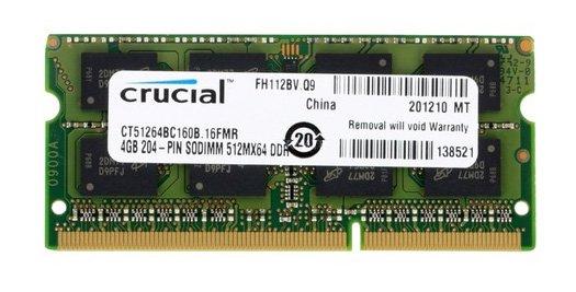 [Alternate] Crucial SO-DIMM 4 GB DDR3 RAM Notebook Arbeitsspeicher für 18,98€