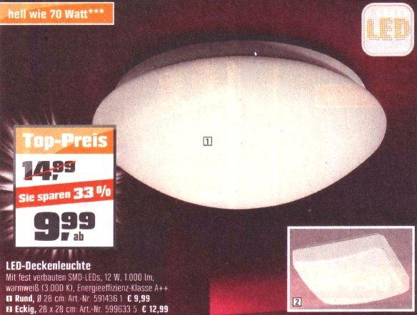 OBI: LED -Deckenleuchte, 12 Watt, 1000 Lumen, für 9,99 Euro