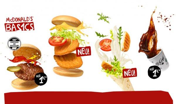 (McDonalds) Basics ab 1€ neu dabei Doppel Chickenburger und Snack Wrapp Ceasar
