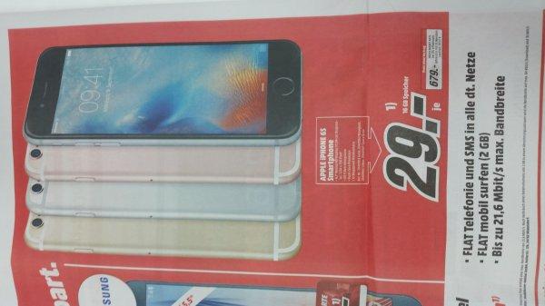 IPhone 6s mit 2GB Daten und Telefon Flat für 34,90€ monatlich +29€ Einmalzahlung im Media Markt Schleswig